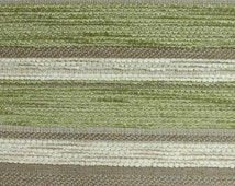 Diamante Striped Designer Curtain / Upholstery Fabric in Cream, Beige and Lime by the Metre (DB15)