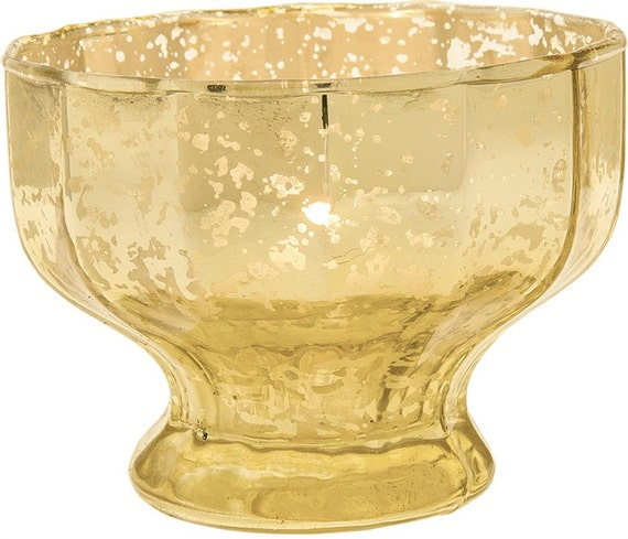 Gold mercury glass candle holder votives bowl by taarabazaar for Flat candle holders