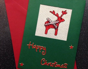 Reindeer cross stitch christmas card