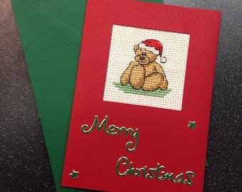 Teddy bear cross stitch christmas card