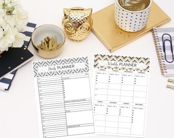 Daily + Weekly Planner Printable - Schedule - Tribal Design