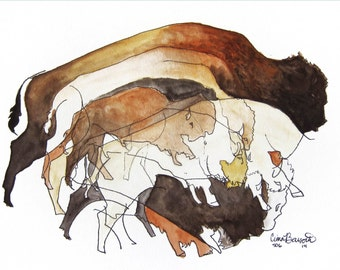 Six Bison | Giclee Print Buffalo Abstract Pen and Ink Watercolor Artwork Cave Painting Primitive Style Western Art Warm Tones