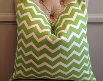 Handmade Decorative Pillow Cover - Green Chevron