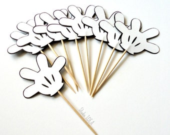 Black & White Mickey Hand Cupcake Toppers, Food Picks or CHOOSE YOUR COLORS