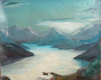 European art antique landscape oil painting signed