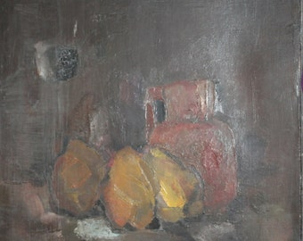 1980 Bulgarian art still life fruits oil painting signed