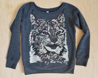 Jeri's Lynx - Cozy Brand BELLA New Gray HAND DRAWN Screen Print Sweater