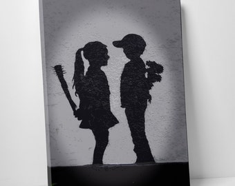 Boy Meets Girl by Banksy Gallery Wrapped Canvas Print. BONUS WALL DECAL!