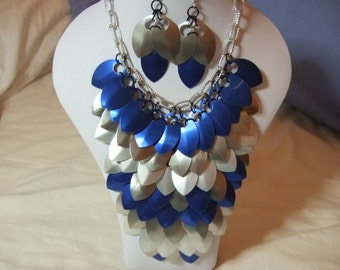 Winter Ice- A Blue and Silver Scale Maille Necklace and Earring Set