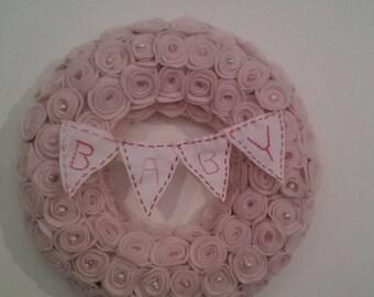 Nursery decor, baby bunting wreath, felt wreath, felt roses.