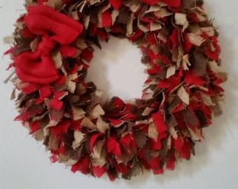 Extra Large, Beautiful, Everyday, Red, Dark Brown, Natural Burlap, Rag Wreath