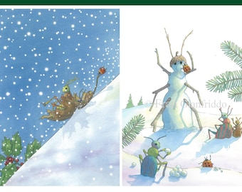 "SET of 4 GREETING CARDS- Group D shows our friendly bugs having some winter fun. Set includes 2 each of ""Yeehaa!"" and ""Building a Snowbug""."