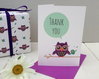 Owl Thank You Card (branch)