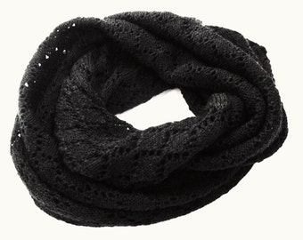 Black Knit Lace infinity scarf,  womens wool scarf, Ajour Lace cowl, 100 % Wool