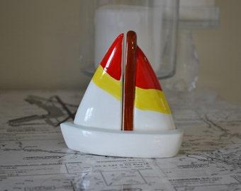 Sailboat Salt and Pepper Shakers, Nautical Kitchen Decor