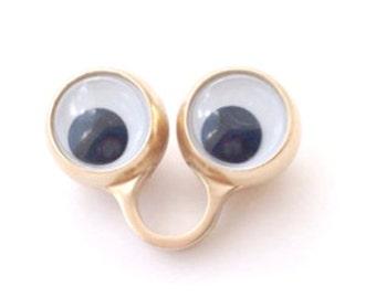 Googly Eye Ring brass
