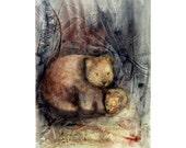 Wombat Baby, Giclee print 8x10, Wildlife Art, Animal Painting, Watercolour Painting, Gift, Nursery decor, Illustration, Wall Art, Art Print