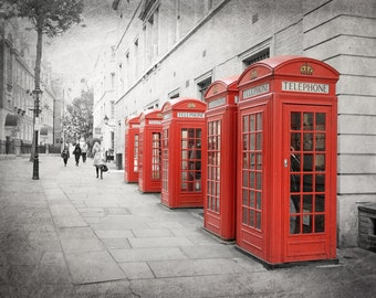 London Photography, Red Phone Box, Red Phone Booth, Fine Art Print, Travel Photography, British Decor, Wall Art, Home Decor, Matted Print