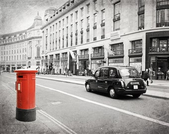 London Photography, Black and White, London Taxi, Cab, British Post Box, Red Mailbox, Regent Street, Fine Art Print, British Decor, Wall Art