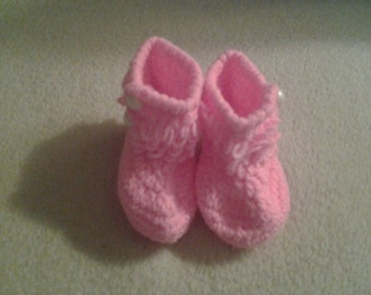 crochet baby girl loopy booties boots 3-6 months