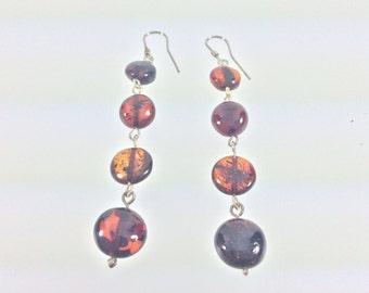 Long Dangly Amber Earrings // 925 Sterling Silver // Natural Cherry Baltic Amber // Baltic Amber Earrings