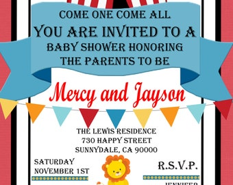 Circus Themed Baby Shower/ Birthday Party Invitation