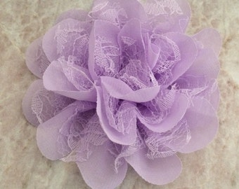 Chiffon and lace flower, large flower, lavender flower, lace flower, flower puff, flower supplies, DIY supplies,