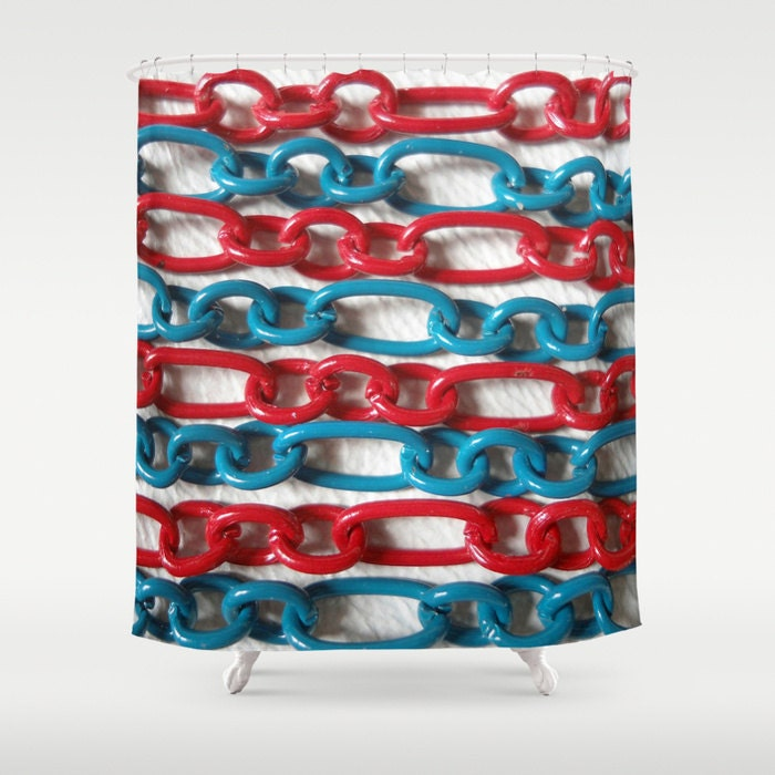 Red White And Blue Shower Curtain 71 BY 74 By JUST3Js On Etsy