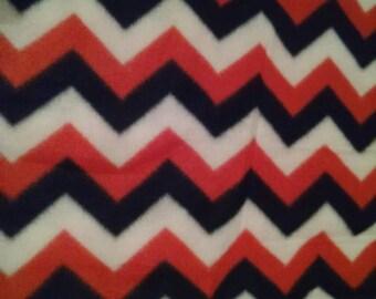 Orange and navy fleece chevron fabric 1.25 yards