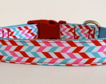 READY TO SHIP! Christmas Dog Collar Herringbone Classic Christmas Candy Colored