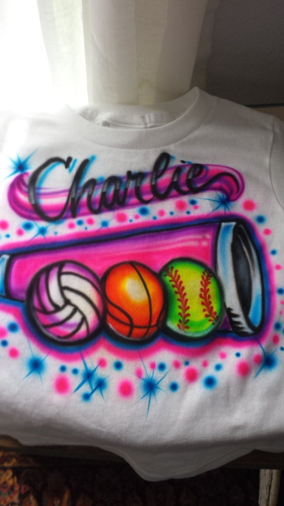 Custom airbrush t shirt freehand not stencil cheer for Custom made airbrushed shirts