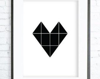 Geometric Print Art, Modern Art Prints, Home Decor, Black Heart Printable, Bedroom Art, Dining Room Art, Black Heart  Wall Art,