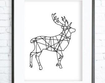 Deer Antler,  Deer Art, scandinavian wall art,Deer Print, Deer Wall art, Nordic Art, black and white Art,  Graphic Art Print, Home Art