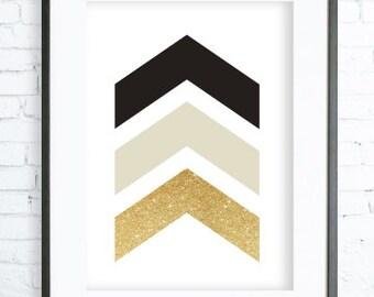 Black and Gold Chevrons, Geometric Print Art, Instant download printable, Chevrons Print, digital print, Chevrons wall art
