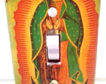 Our Lady Of Guadalupe Light Switchplate Cover, Religious, Religious Switchplate. Decoupaged, Our Lady Of Guadalupe, Made By Mod.