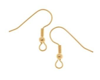 22K Gold Plated Surgical Steel Earring Hooks, 100 Pieces, HypoAllergenic, Shepherd Hook Earrings