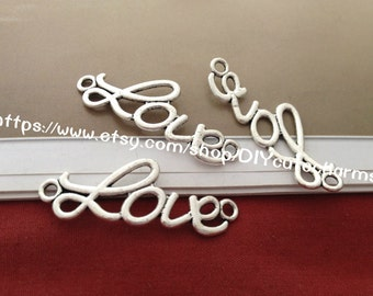 100 antique silver 13mmx37mm Love word  charm link