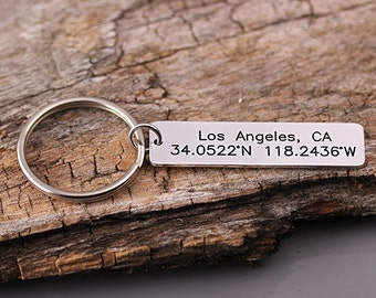 GPS Alloy keychain - Alloy Latitude Longitude Key Chain - Location Keychain - Anniversary, Wedding, Valentines, Groomsmen Gfit