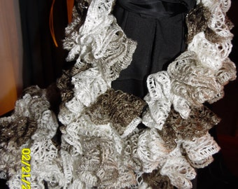 Handmade Gray/Silver/White Sashay Ruffle Scarf