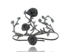 VDJBR-12372, Black Diamond Palm Bracelet, Silver Diamond Wedding Bracelet, Women's Fashionable Bracelet, Handmade Jewelry Wholesale Bracelet