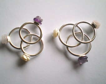 rosy times, Roses, mother of pearl, amethyst, rose quartz, sterling silver, birthday, confirmation, engravedwhite, purple, pink