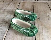 Mini Shoes - Antique Ashtrays - Green Shoe Ashtray Set - Vintage Ashtrays - Little Ashtray - Green Ashtray - Miniature Shoes - Cute Ashtrays