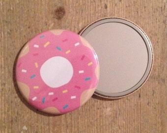 Pink Doughnut Illustration Pocket Mirror