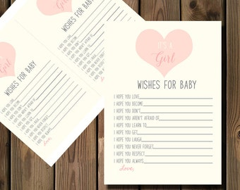 Wishes for Baby Girl Shower Card, Printable- 88