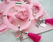 Precious Moment Breast Cancer Baby Pink Fuschia Tassel Bracelet