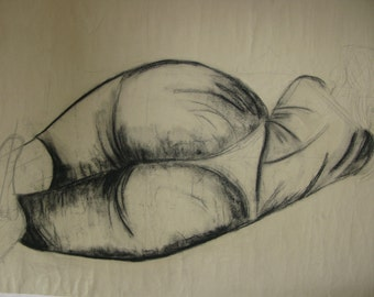 An Original Life Drawing, of the Female Form, using Pencil and Charcoal Pencil.  80cm x 52cm