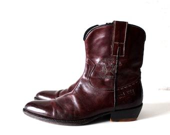 Men's Short Cowboy Boots Brown Genuine Leather Ankle Zip Boots EU 40 / UK 6,5 / US 7
