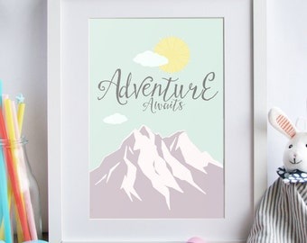 Nursery Decor - Adventure Awaits boys girls bedroom wall art  Nursery art print, baby print, nursery print, nursery art, baby room