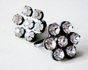 Flower Earrings - Antique Rhinestone - Sterling Silver - Crystal - Vintage - Jewelry - Clip On - Screw Back - Sparkle - catROCKS - Patina