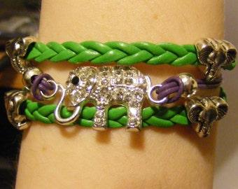 Elephant bracelet, elephant jewelry, leather elephant bracelet, leather elephant jewelry, silver elephant bracelet, silver elephant jewelry
